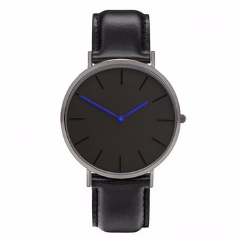 New fashion balck case japan movt watch with black leather strap