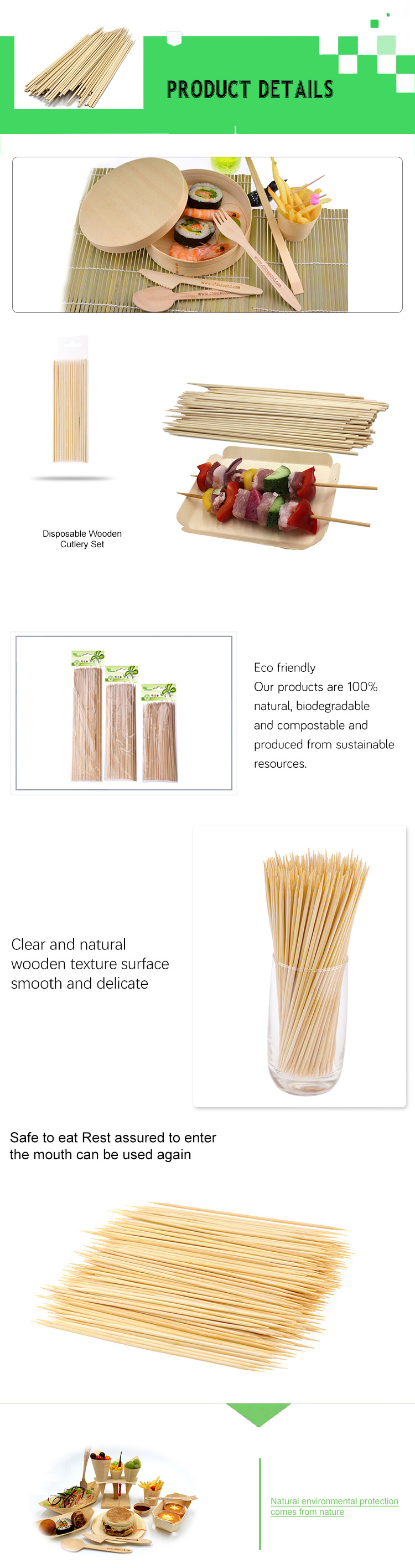Professional disposable round bamboo barbecue skewers