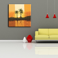 CARB certificate professional sunset coconut tree landscape oil painting