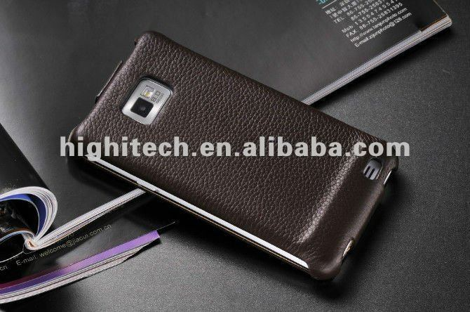 Pink, brown, black, white Genuine Leather Flip Pouch Case For Samsung GALAXY S2 II i9100