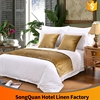 3cm strpe white colour cotton material hotel ribbon work bed sheets designs