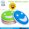 new design silicone creative smile face cup mat