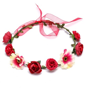Wholesale custom new design flower headband garland wedding flower headband crown for women