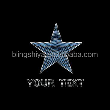 Blue Your Text Star Iron On Rhinestone Motif
