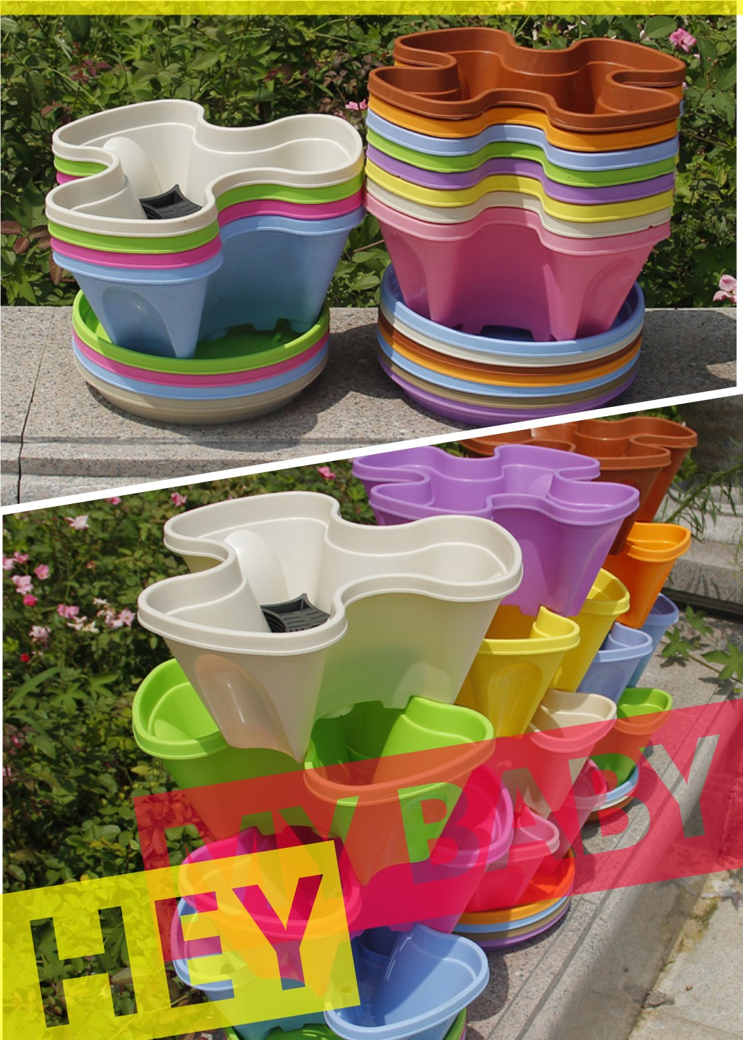 Vertical assembly PP hydroponic plastic flower growing pots with Competitive price