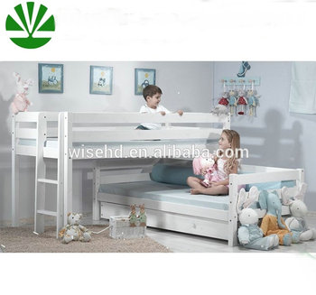 WJZ-B751 solid wood midsleeper kids cabin bed with sofa bed