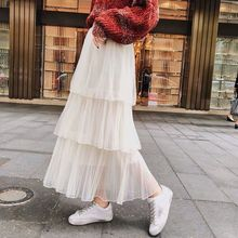2019 Summer new cake <strong>skirt</strong> pleated mesh female long section <strong>skirt</strong> women transparent long <strong>skirt</strong>