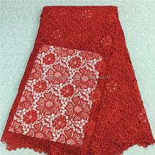 African red bridal lace fabric water soluble chemical lace fabric / latest guipure cord lace with stones .