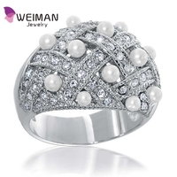 Basket Weave crystal Simulated Pearl pearl ring designs