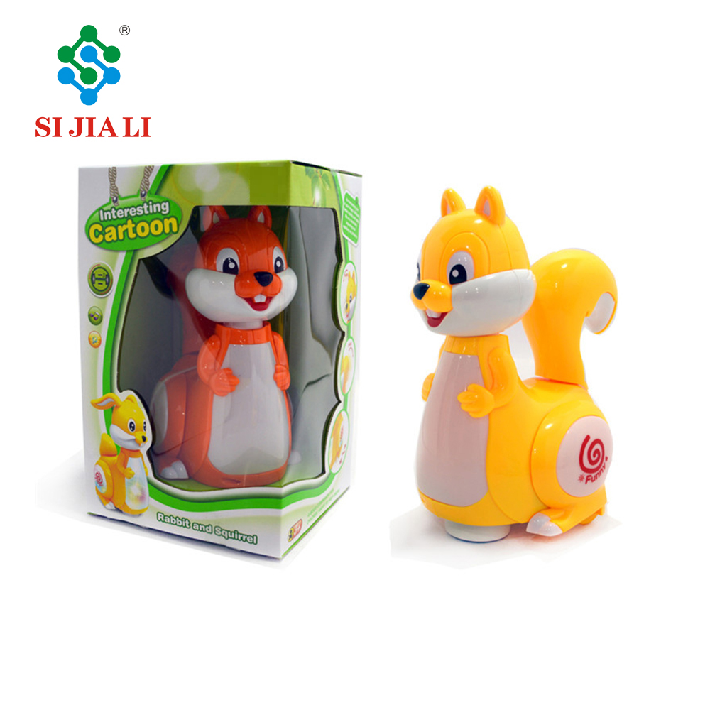 Baby toys lovely battery operated cartoon animal squirrel with light and music