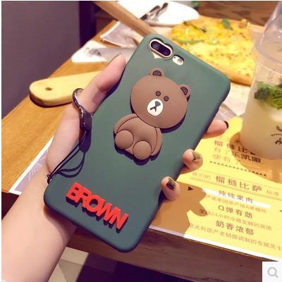 Creative atrovirens brown bear phone cover for iphone 7 plus 3D tpu soft phone cover for oppo r9 plus sling
