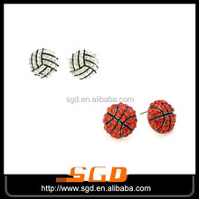 crystal basketball stud earring