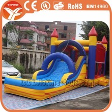 Commercial inflatable bouncy castle with water slide