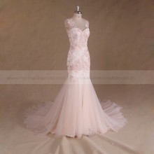 New Pink Backless Beaded Lace Corset Mermaid Wedding Dress Bridal Gown 2017