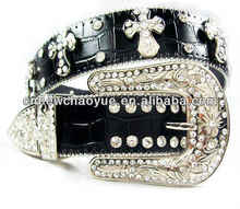 ladies rhinestone fancy leather belt