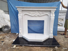 white marble gas fireplace with factory price