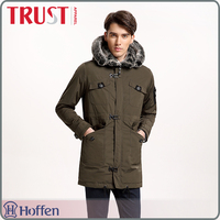 faux leather trimming mens trench coat with hood