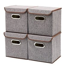 Storage Bins/Fabric Foldable Basket Cubes Organizer Boxes Containers Drawers with Lid - Gray For Office Nursery Bedroom Shelf