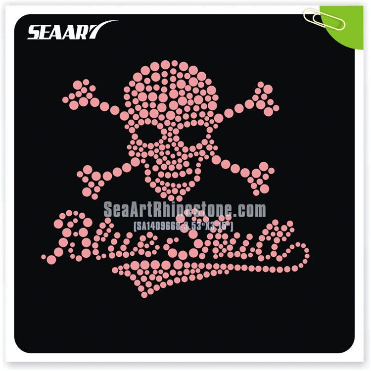 Hot Sale Skull Rhinestone Transfer Sticker Sheet Greek Bulk Iron On Letter For Clothing