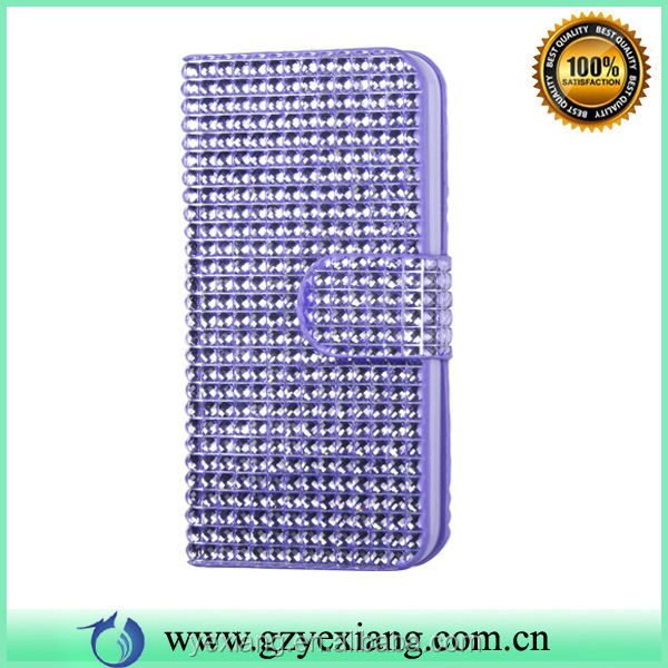 Book Style Leather Case For iPhone 4 4S Bling Phone Case With Magnet