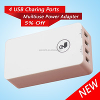 Bright White Mini 4 Port USB wall Charger for Home Travel Use