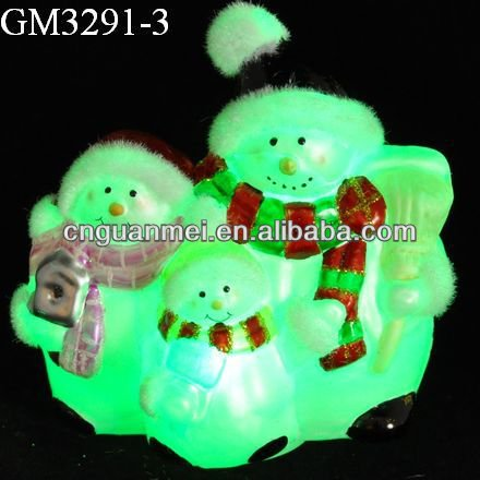 Wholesale handmade christmas glass snowman family with LED light