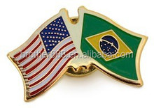 soft enamel pin/usa flag pin/ cross friendship metal flag lapel pin
