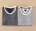 OEM T- shirt design for women striped fashion t shirt long sleeve casual t shirt