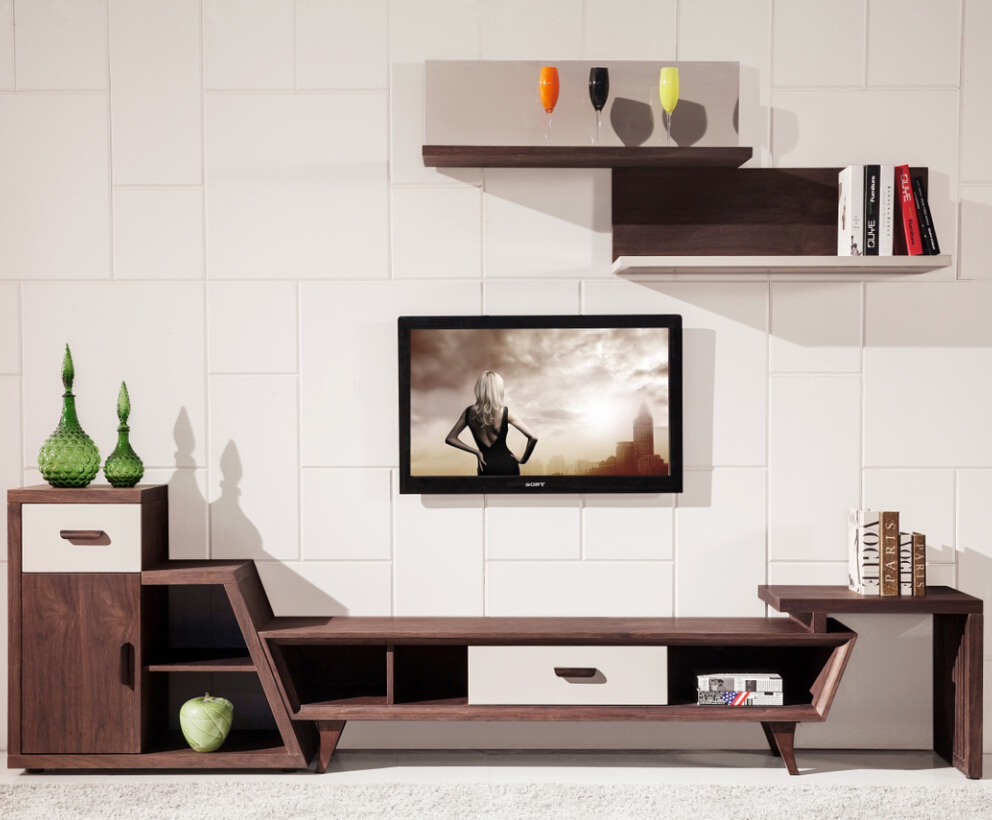 2015 new design living room modern corner wooden tv for Modern living room design ideas 2015