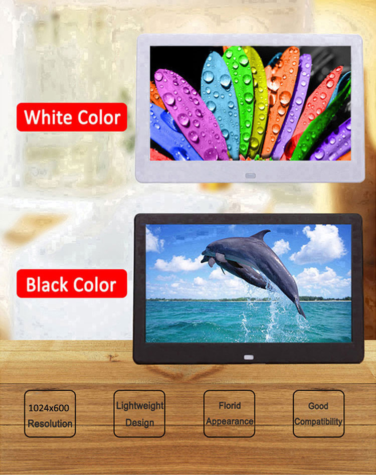 "Hot selling 10"" ips hd wide screen digital photo frame video advertising player for wedding supermarket"