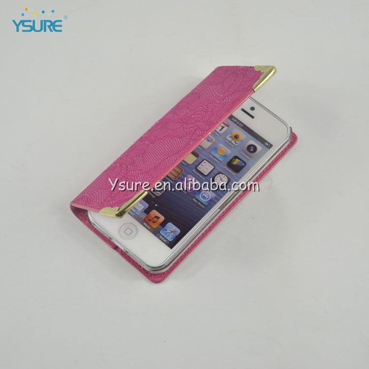 Rose Red Exquisite Lace Flip Cover Case for iphone 5 5s