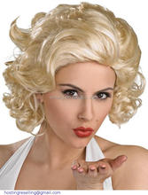 Hot sales classic short curly golden classic retro fluffy wig/Marilyn Monroe front lace wig about 8""