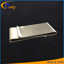 Custimized logo blank stainless steel metal double folding money clip paper clips