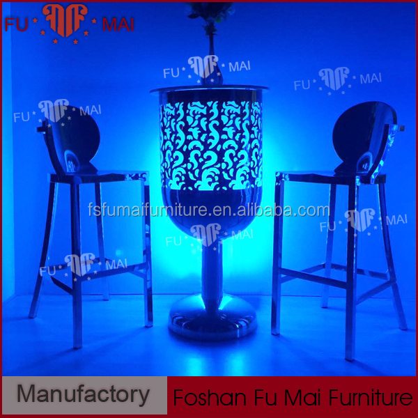 party high round stainless steel led lighting glass top wine barrel bar table