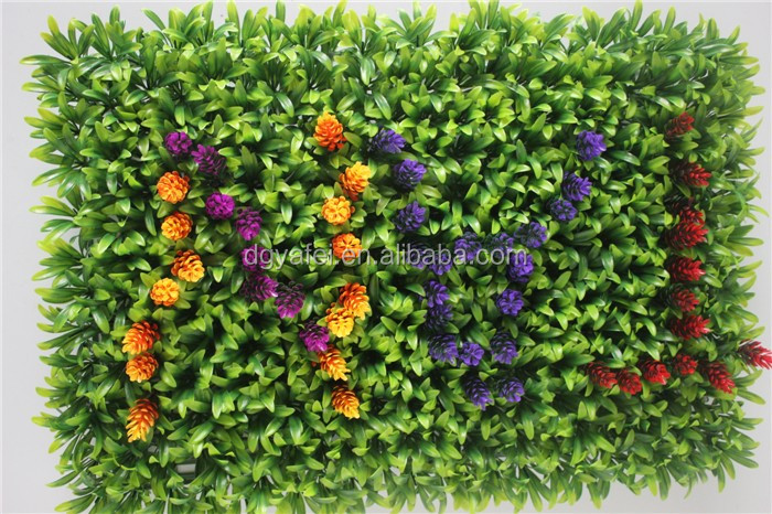 Yafei artificial boxwood hedge with colorful flower ornament