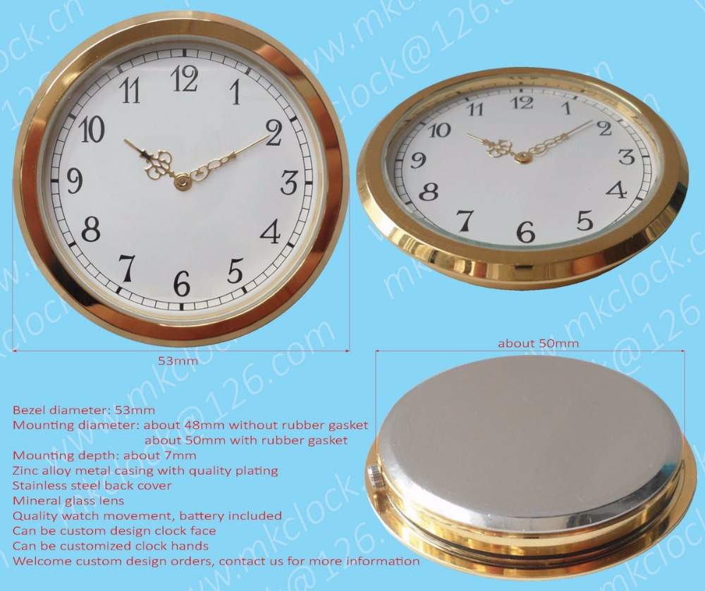53mm custom design clock insert gold plating zinc alloy metal clock fit up Japanese or Swiss watch movement small clock unit