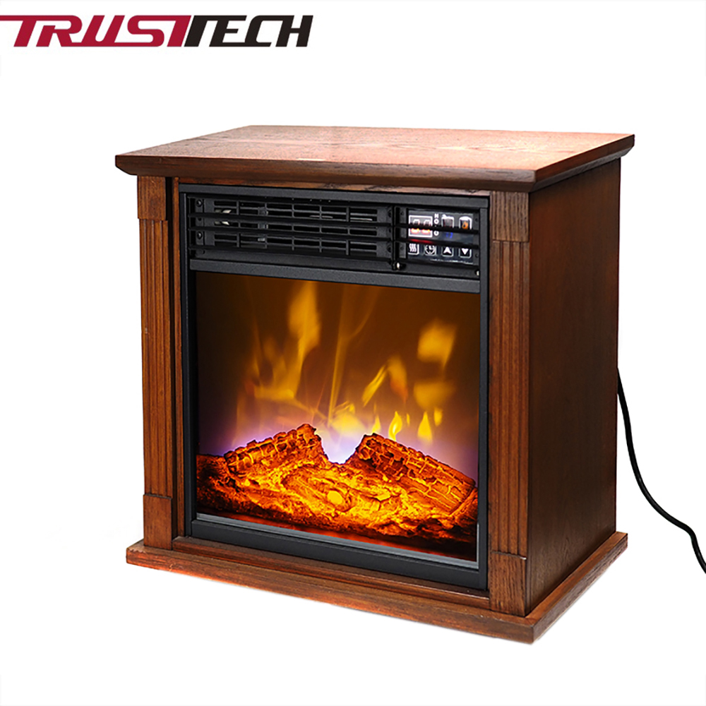 Decorative Flame Electric Fireplace Heater With Remote and Mantel