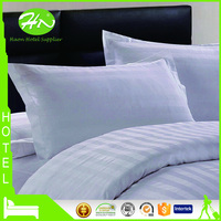 Best Selling White Satin Stripes Polyester Cotton Hotel Pillow Cases
