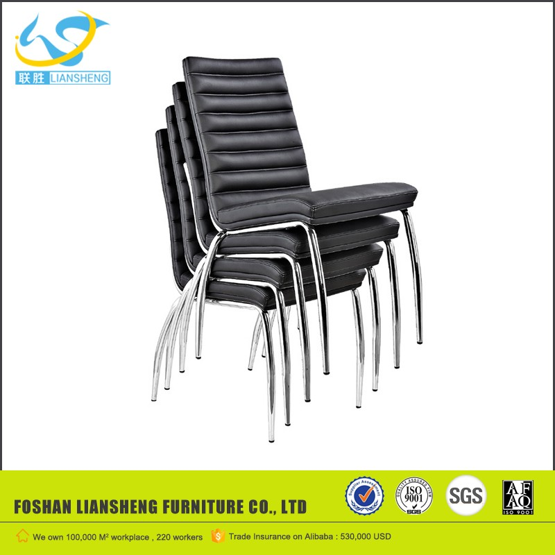 Black leather office meeting/visitor chair with chromed armrest AH-40A
