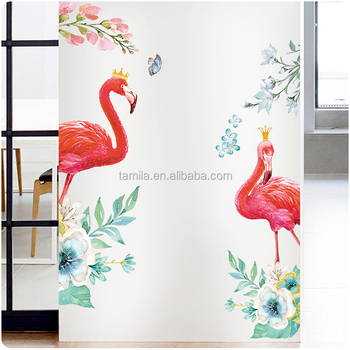 DIY Colorful Flamingo wall decals kindergarten classroom children room home decorative removable waterproof wall stickers