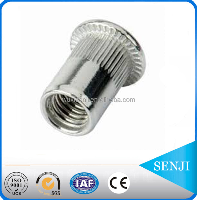 Stainless steel and carbon steel Internal thread m4 m6 flat head blind knurled rivet nut