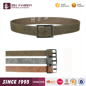 HEC Wenzhou Wholesale Trendy Concise Style Square Ring Men Leather Belt