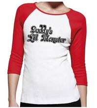 Harley Quinn long sleeve baseball tee Daddy's Lil Monster T-shirt