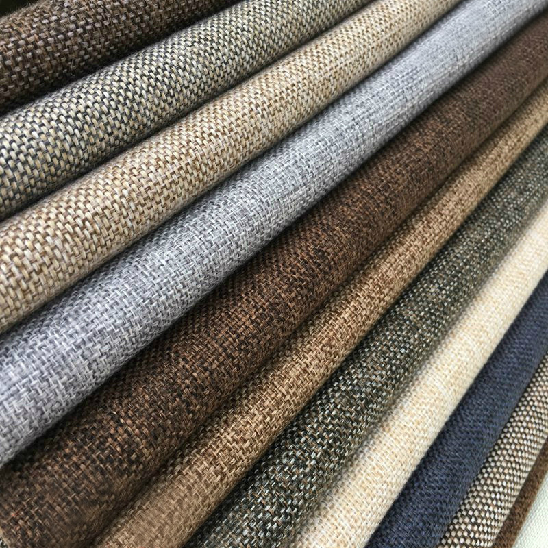 100% flax linen fiber fabric,polyester imitated linen fabric used for sofa , cushion, upholstery