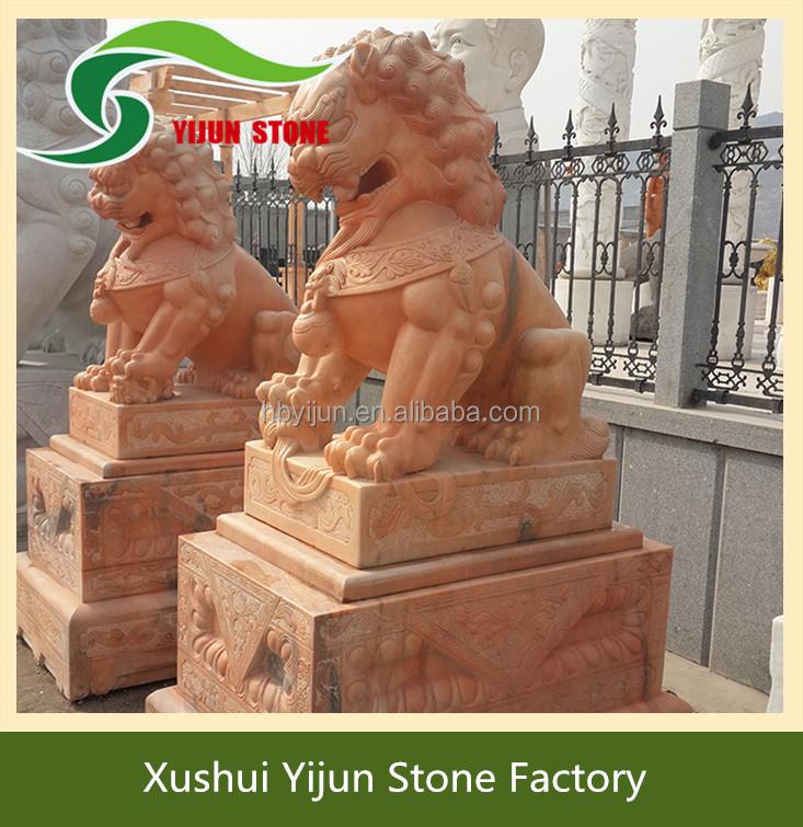 Best Selling Classical Hand Carved Stone Statues Life Size Marble Lion Sculpture