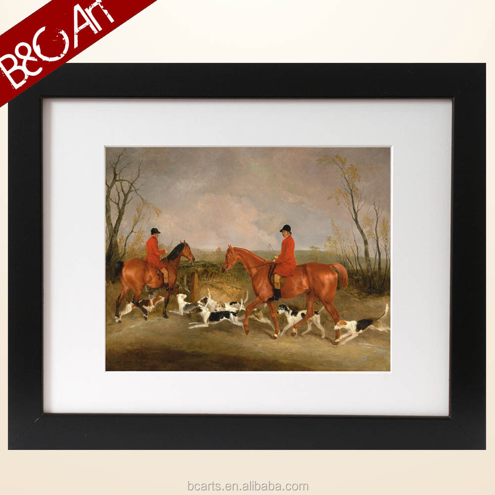 Handmade classical character and dog hunting painting oil