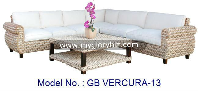Contemporary Natural Rattan Corner L Shape Sofa Set, modern corner sofa, living room set furniture