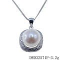 Silver Freshwater Pearl Square Shape Pearl Pendant Set DR032571P