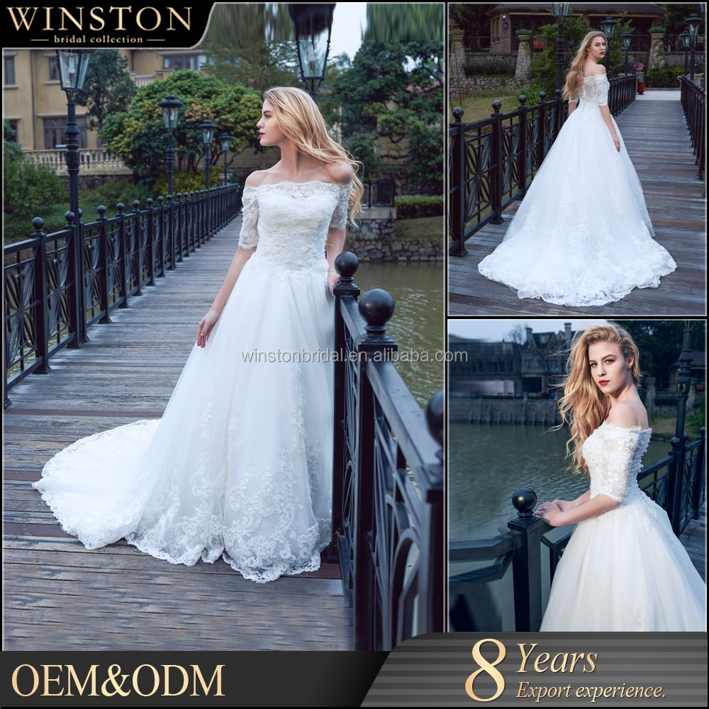 Fashion professional best v neck off the shoulder wedding dress