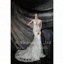 Sexy Ivory V Line Beaded Alibaba Wedding Dress Lace Mermaid Bridal Gown